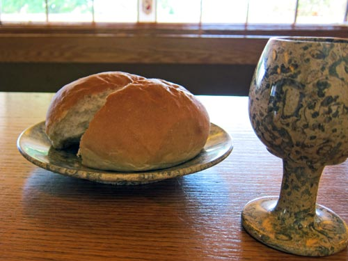 Kelli's new chalice and plate for communion